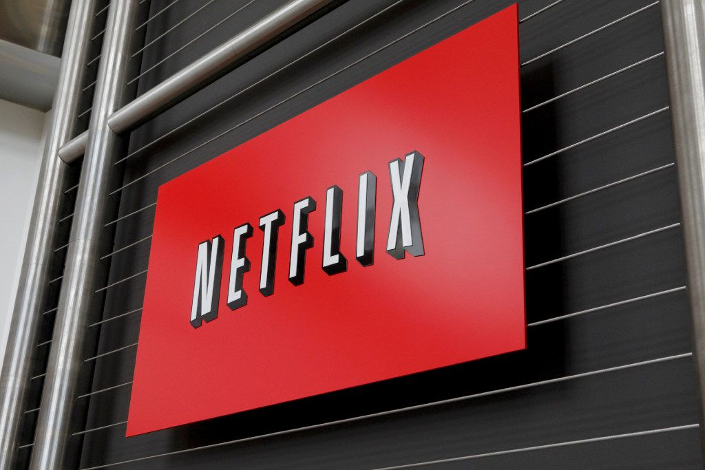 This file photo taken on April 13, 2011 shows the Netflix company logo  at Netflix headquarters in Los Gatos, California. US stocks rose early on October 18, 2016 following a handful of mostly solid earnings reports, with on-demand television service Netflix surging 19.0 percent after subscriber results topped expectations.