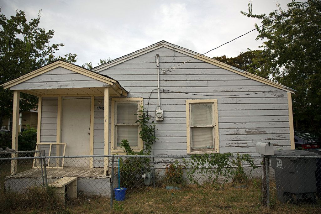 A rent home in the 1800 block of Life Avenue  in Dallas. Many residents in the West Dallas neighborhood are being evicted from their rent homes, which are managed by HMK Limited.