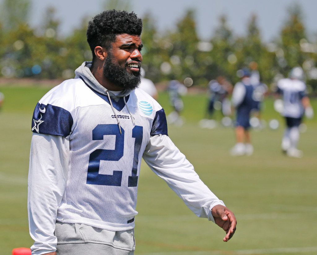 Dallas running back Ezekiel Elliott is pictured during the Dallas Cowboys' full-squad minicamp practice at the Star in Frisco on June 15, 2017.