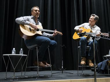 Billy Crockett, singer, songwriter and creative director of Blue Rock Studio in the Texas Hill Country, and Mike Wilson, editor of 'The Dallas Morning News,' participate in a 'Duets' subscriber event on October 1, 2019 at 'The Dallas Morning News.'