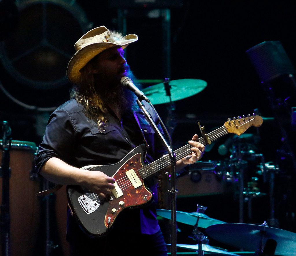 Chris Stapleton performs during his opening set. Stapleton and the Eagles performed before a  capacity crowd of their fans at AT&T Stadium in Arlington on June 23, 2018.