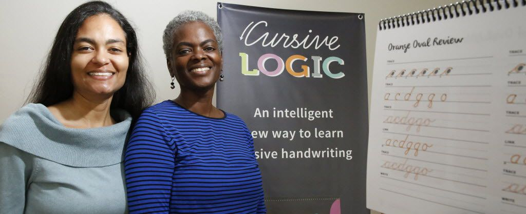 Prisca LeCroy, left, and her mother, Linda Shrewsbury have developed, Cursive Logic, a new method to teach cursive writing. photographs taken in Prisca LeCroy's  east Dallas house Tuesday November 3, 2015. (Ron Baselice/The Dallas Morning News)