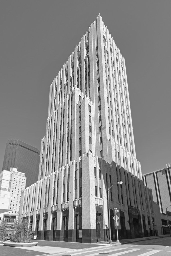 Lang & Witchell designed multiple skyscrapers in Dallas and commercial properties in Fort Worth and across the state. The Dallas Power & Light Building, completed in 1930 on Commerce Street downtown, is one of the best. Photograph by Jim Parsons. From The Open-Ended City: David Dillon on Texas Architecture, edited by Kathryn E. Holliday, foreword by Robert Decherd, published by the University of Texas Press.