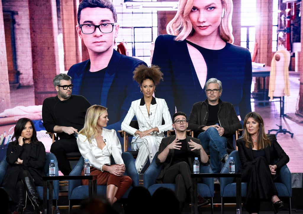 Front row, from left: Executive producer Jane Lipsitz, Karlie Kloss, Christian Siriano and Nina Garcia. Back row, from left: Brandon Maxwell, Elaine Welteroth and executive producer Dan Cutforth. The group participated in Bravo's Project Runway panel during the NBCUniversal TCA Winter Press Tour on Tuesday in Pasadena, Calif.