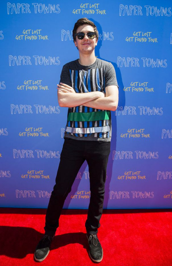 Actor Nat Wolff poses for photos on the red carpet outside a promotional event for Paper Towns, a movie based on the book by John Green, on Thursday, July 16, 2015 at Bomb Factory in Dallas.  Wolff stars in the movie with Cara Delevingne.