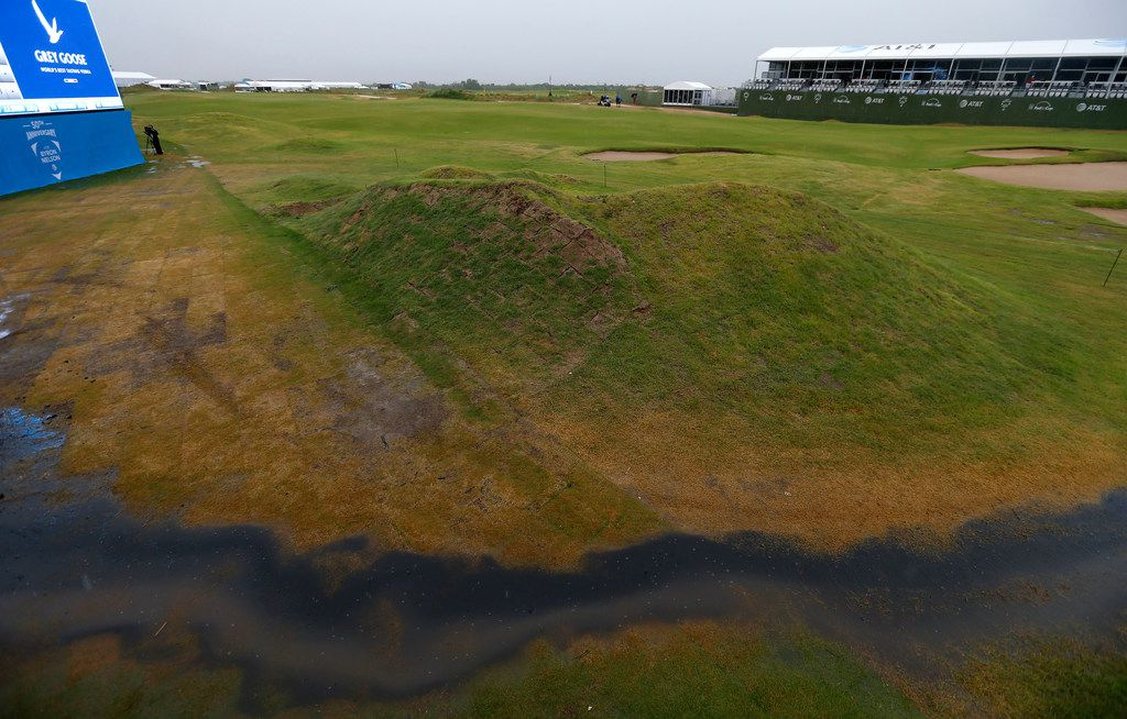 Flood water is seen on the 18th fairway during a weather delay of the final round of AT&T Byron Nelson at Trinity Forest Golf Club in Dallas, Sunday, May 20, 2018. (Jae S. Lee/The Dallas Morning News)