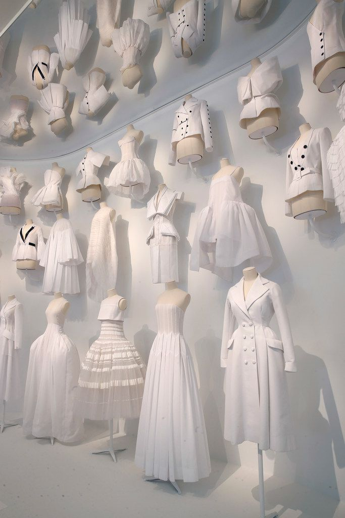 "The ""Office of Dreams"" area of the Dior exhibition shows the white toiles that fashion designers use to sketch out new ideas."