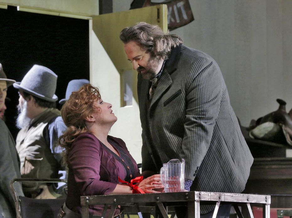 Patricia Racette (Minnie) and Gwyn Hughes Jones (Dick Johnson) in 'The Girl of the GOlden West' (c) Ken Howard for Santa Fe Opera, 2016