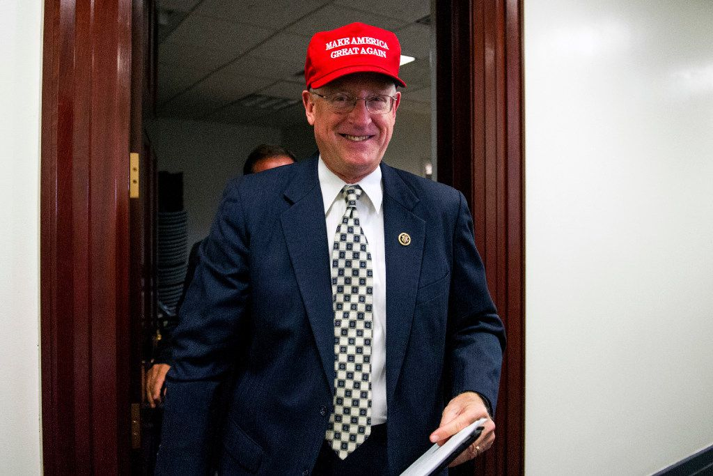 """Rep. Mike Conaway, R-Texas, wearing a """"Make America Great Again"""" hat leaves a House Republican leadership meeting on Capitol Hill in Washington. House Republicans are laying the groundwork for a fresh effort to overhaul the nation's food stamp program during Donald Trump's presidency, with the possibility of new work and eligibility requirements for millions of Americans. (2016 File Photo/The Associated Press)"""