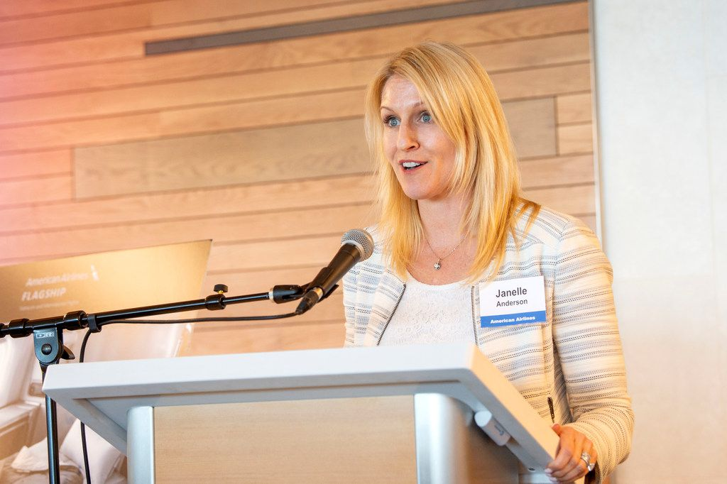 American Airlines vice president of global marketing Janelle Anderson speaks to members of the media at the opening of the new American Airlines Flagship Lounge on Monday, May 13, 2019 in Terminal D at DFW Airport in Grapevine, Texas. (Jeffrey McWhorter/Special Contributor)