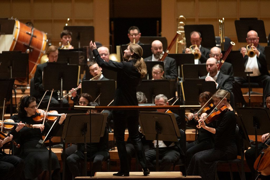 Guest conductor Karina Canellakis conducts the Dallas Symphony Orchestra at The Morton H. Meyerson Symphony Center in Dallas, Texas, May 9, 2019.