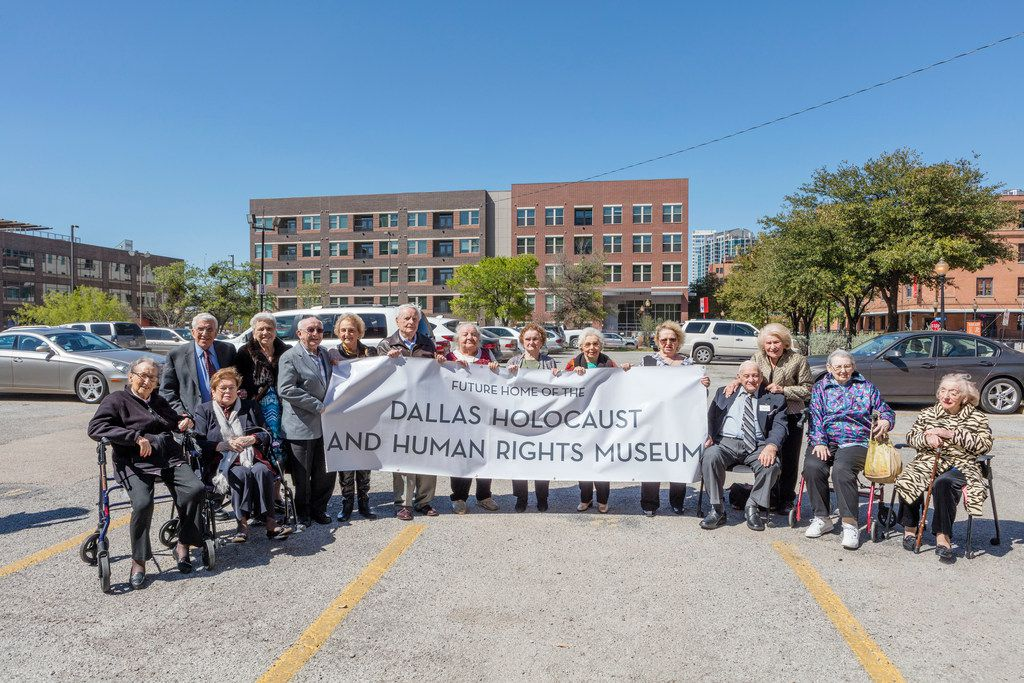 Fifteen Holocaust survivors from the D-FW area gathered for a group photo celebrating plans for a new Dallas Holocaust and Human Rights Museum.