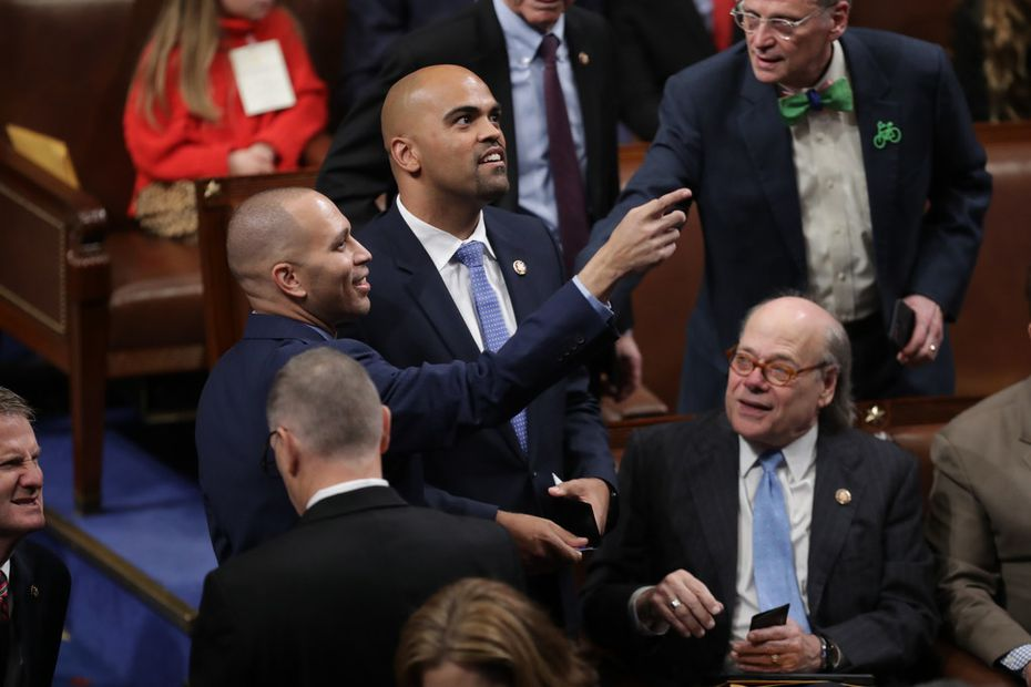 Rep. Colin Allred (D-TX) registers as present with help from U.S. Rep. Hakeem Jeffries (D-NY) during the first session of the 116th Congress at the U.S. Capitol on January 03, 2019. (Photo by Chip Somodevilla/Getty Images)