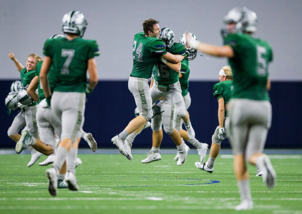 Frisco Reedy celebrates a 35-28 win over Frisco Wakeland after a Class 5A high school football game between Frisco Wakeland and Frisco Reedy on Thursday, October 5, 2017 at Ford Center at The Star in Frisco, Texas. (Ashley Landis/The Dallas Morning News)