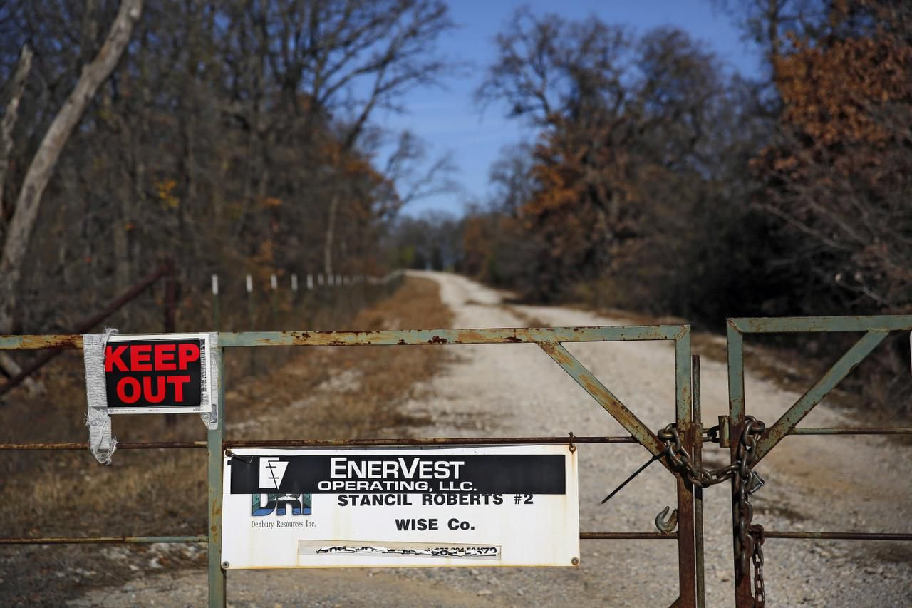 A locked gate marks the entrance to an EnerVest wellsite in rural Wise County. SMU researchers found that an EnerVest wastewater well near the epicenters of Parker County earthquakes that started in November 2013 was one of two such sites generating the highest pressures near the fault along which the earthquakes occurred.