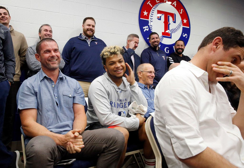 Former Texas Rangers third baseman Michael Young (left) turns red as Adrian Beltre pokes a little fun at him during Beltre's retirement press conference at Globe Life Park in Arlington, Texas, Friday, November 30, 2018. Beltre played 21 seasons (1998-2018) in the Major Leagues, the last eight with the Rangers (2011-18). (Tom Fox/The Dallas Morning News)