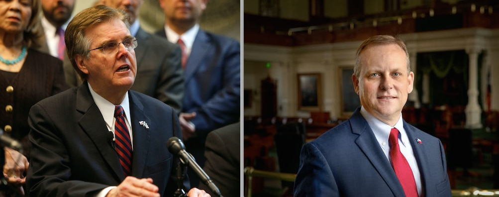 Lt. Gov. Dan Patrick (left) speaks to the media at a news conference in Dallas on Tuesday, Jan. 9, 2018 Scott Milder (right) is challenging Patrick in the Republican primary for lieutenant governor. The election is March 6 and early voting started Tuesday.