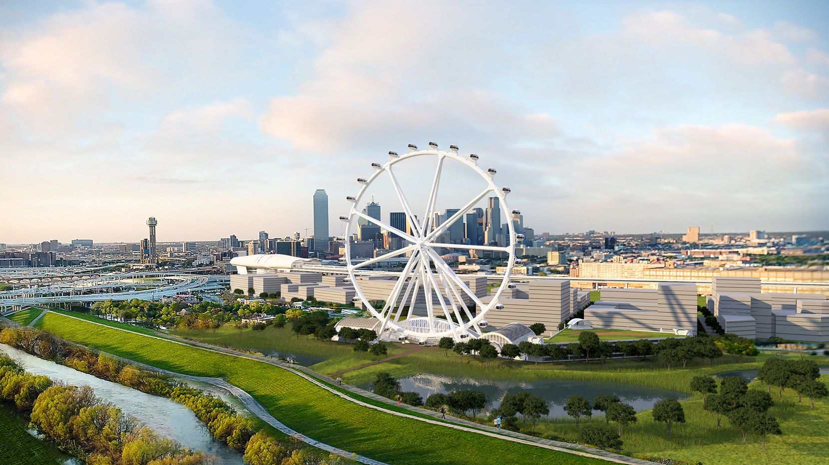 Developers want to build a giant observation wheel on the Trinity River south of downtown Dallas that would be bigger than the London Eye.