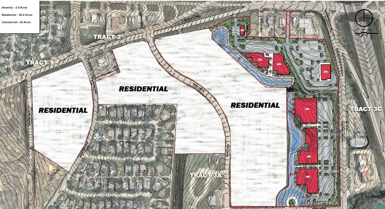 The vacant tract north of the rodeo will be used for residential and commercial/retail building.