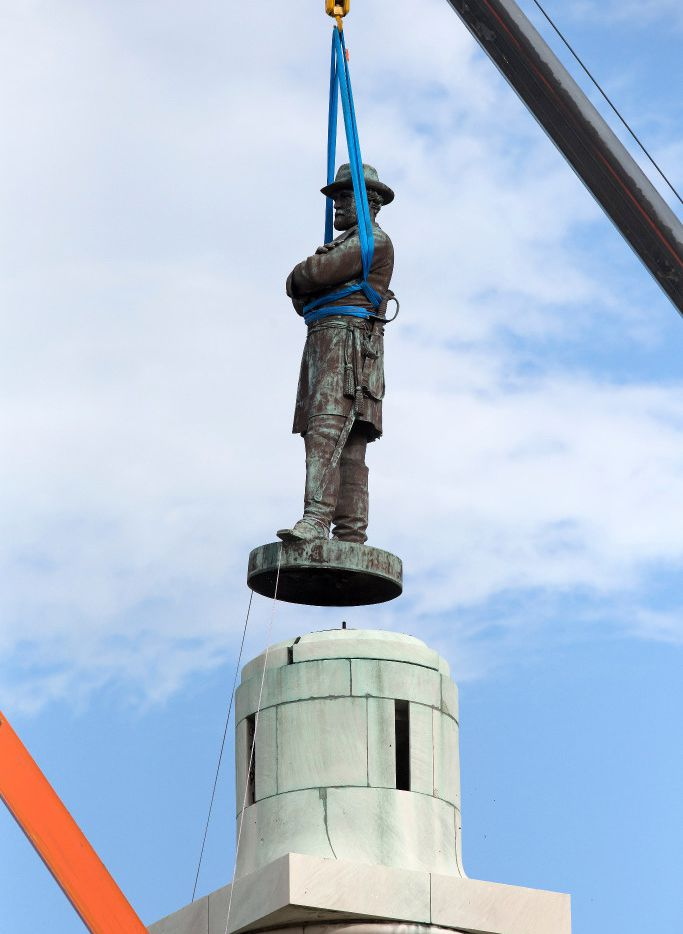 A statue of Confederate General Robert E. Lee is removed from Lee Circle  May 19 in New Orleans. Lee's was the last of four monuments to Confederate-era figures to be removed under a 2015 City Council vote on a proposal by Mayor Mitch Landrieu.