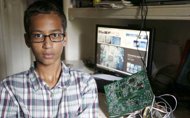 After taking a homemade clock to school, Irving MacArthur High student Ahmed Mohamed, 14, was taken in handcuffs to juvenile detention. Police say they may charge him with making a hoax bomb — though they acknowledge he told everyone who would listen that it's a clock.