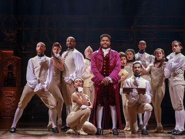 "Bryson Bruce, who portrays Thomas Jefferson in the national touring production of ""Hamilton"" coming to Bass Performance Hall in Fort Worth next June, with other members of the cast."