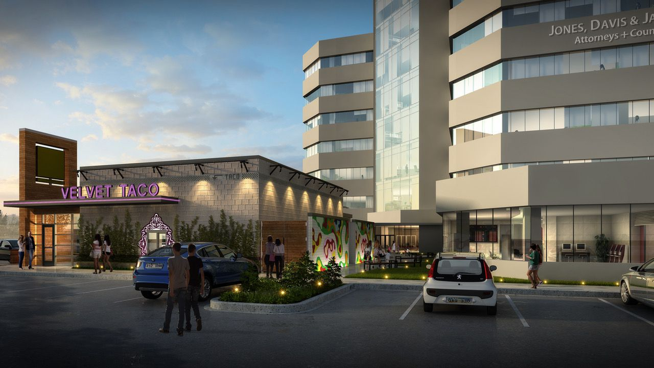A new retail building with restaurant space will be added to the project at Belt Line Road and the Dallas North Tollway.