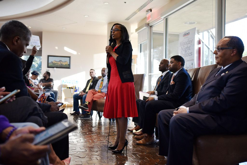 Candidate Tiffinni Young for city council district 7 speaks during Monday Night Politics with the candidates, presented by The Dallas Examiner, Monday March 25, 2019 at the African American Museum at Fair Park in Dallas. At far right is council member Kevin Felder, who is seeking reelection.