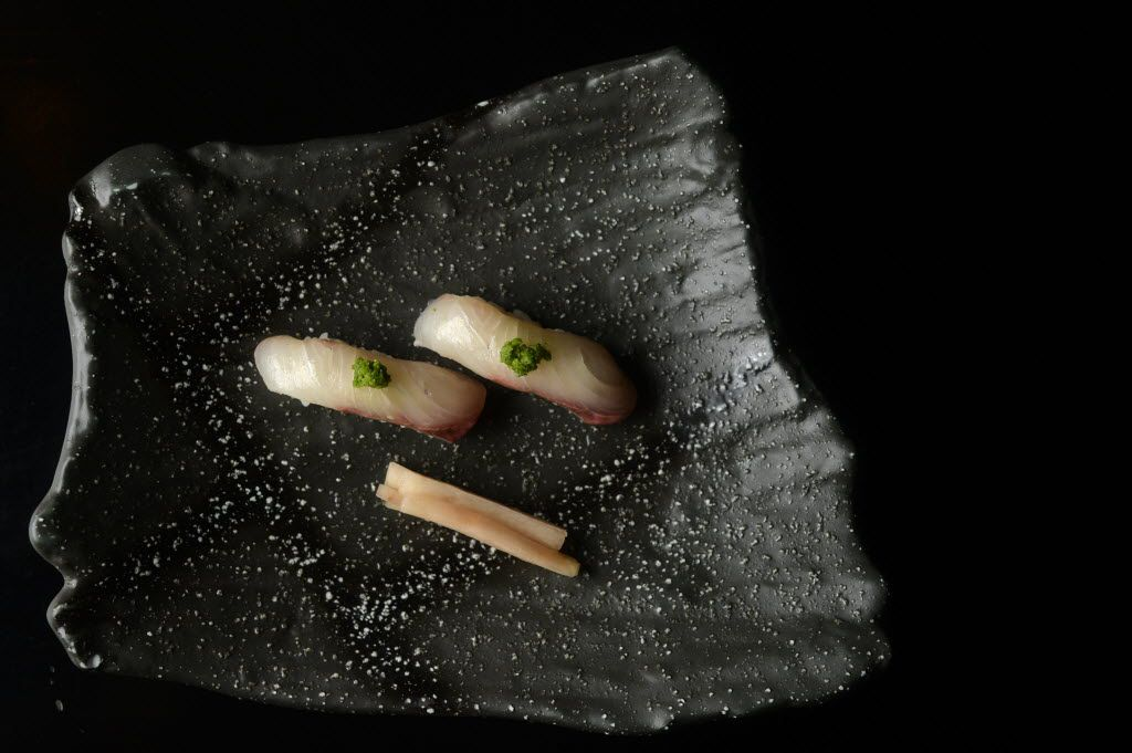 Kampachi sushi with housemade pickled ginger