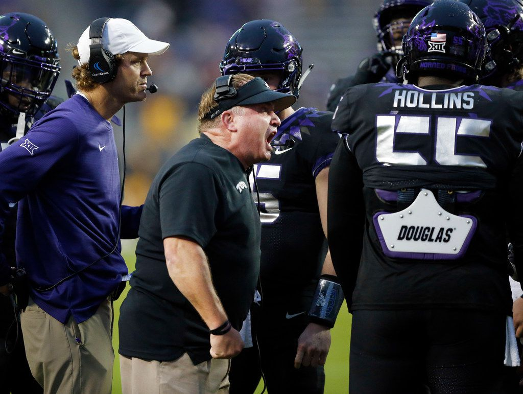 TCU Horned Frogs head coach Gary Patterson gets after his players during a second quarter timeout against the West Virginia Mountaineers at Amon G. Carter Stadium in Fort Worth, Friday, November 29, 2019.(Tom Fox/The Dallas Morning News)