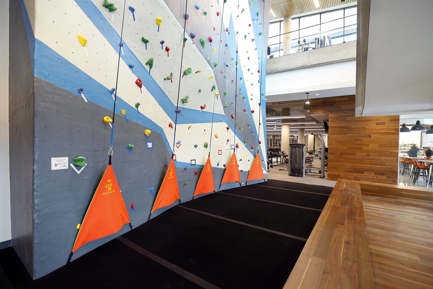 A two-story climbing wall is part of the fitness center.