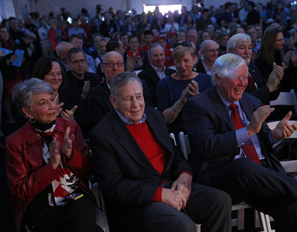 Jean McMillion and her husband Hall of Fame Swim Coach George McMillion celebrate the groundbreaking of SMU's Robson and Lindley Aquatics Center with the Barr-McMillion Natatorium in Dallas Friday Feb. 26, 2016. (Nathan Hunsinger The Dallas Morning News)