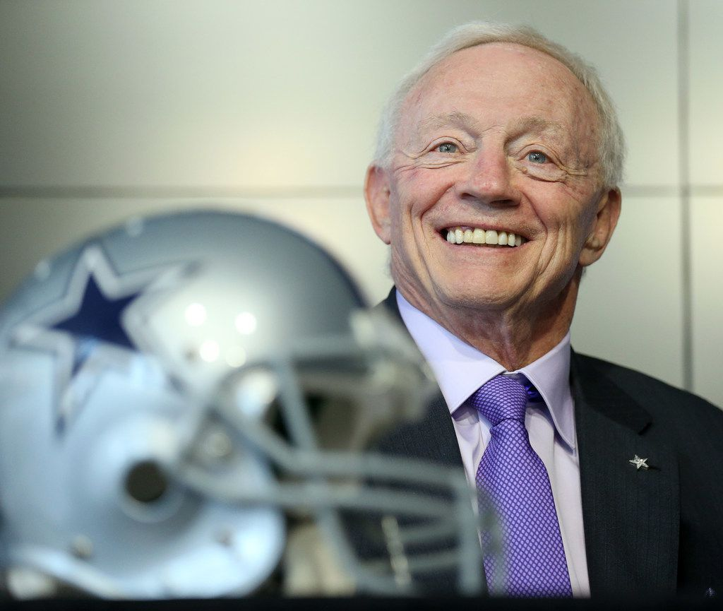 Dallas Cowboy owner Jerry Jones speaks as Boise State linebacker Leighton Vander Esch is introduced during a press conference after arriving at The Star for the first time after being picked the day before by the Dallas Cowboys with the 19th overall pick in the 2018 National Football League draft in Frisco, Texas Friday April 27, 2018. (Andy Jacobsohn/The Dallas Morning News)