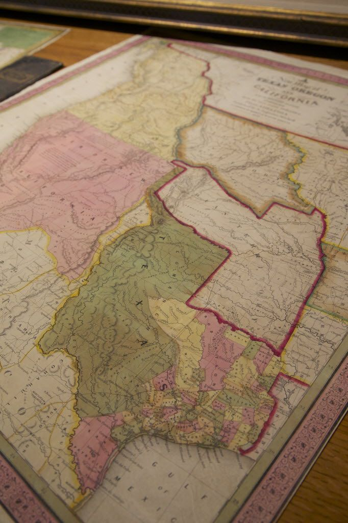A map of Texas, Oregon, California and adjoining regions from 1846 at Beaux Arts Gallery, Saturday, October 4, 2014.