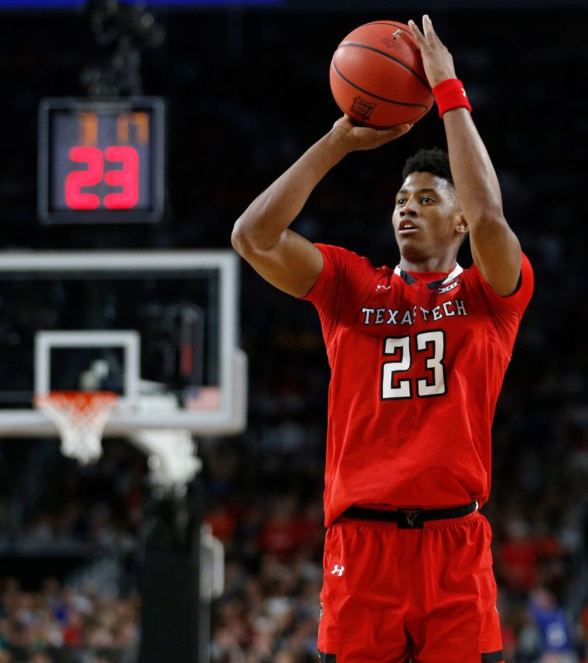Texas Tech Red Raiders guard Jarrett Culver (23) attempts a shot in a game against the Michigan State Spartans during the first half of play in the semifinals of the Final Four NCAA college basketball tournament at U.S. Bank Stadium in Minneapolis on Saturday, April 6, 2019. (Vernon Bryant/The Dallas Morning News)