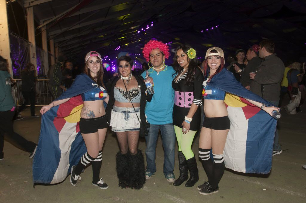 Heather Crandall, 19, Jennifer Marquez, 24, Manny Reveles, 24, Linda Reveles, 30,  and Hanna Taylor, 21,  attend the Lights All Night NYE Dance Party at Fair on Saturday, Dec. 29, 2012.     (Rex C. Curry/Special Contributor)
