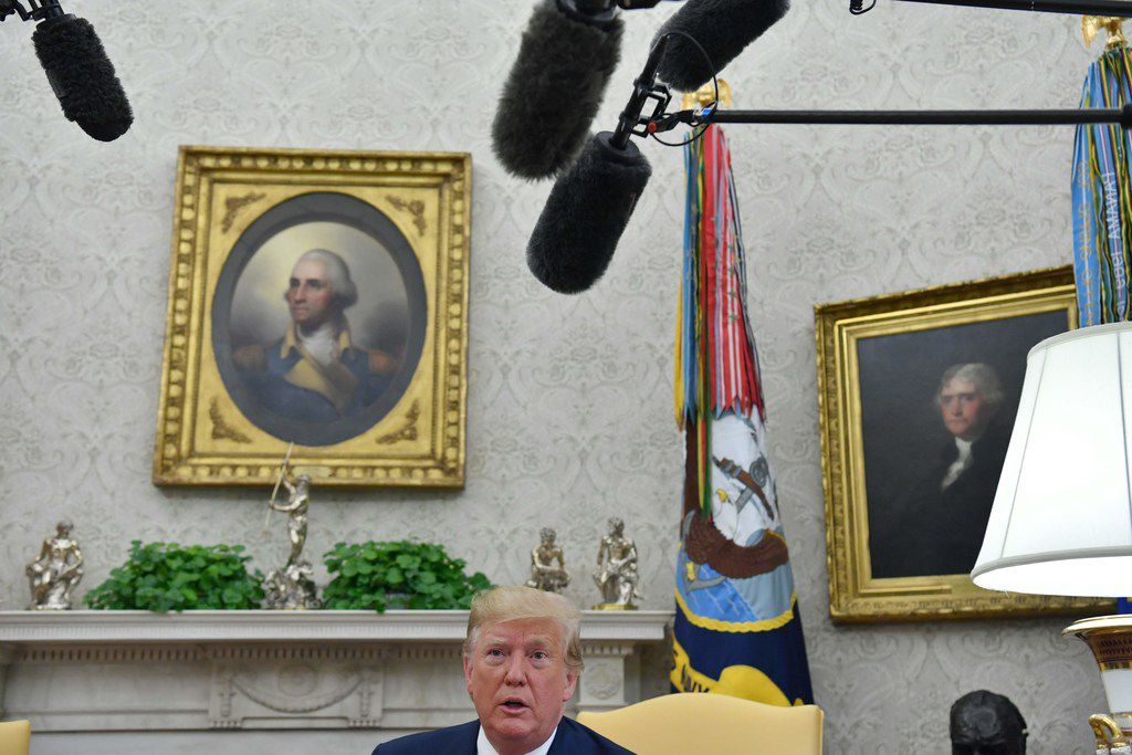 President Donald Trump speaks during a meeting with Pakistani Prime Minister Imran Khan in the Oval Office at the White House in Washington, D.C., on July 22, 2019.