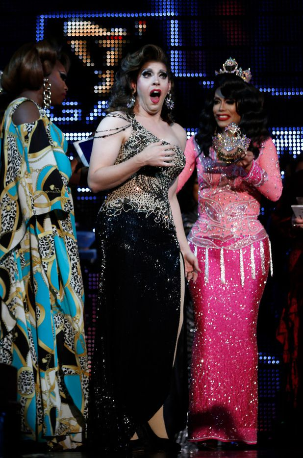 Violet S'Arbleu reacts with joy and shock after hearing her name called as the winner of Miss Gay Texas America 2017.