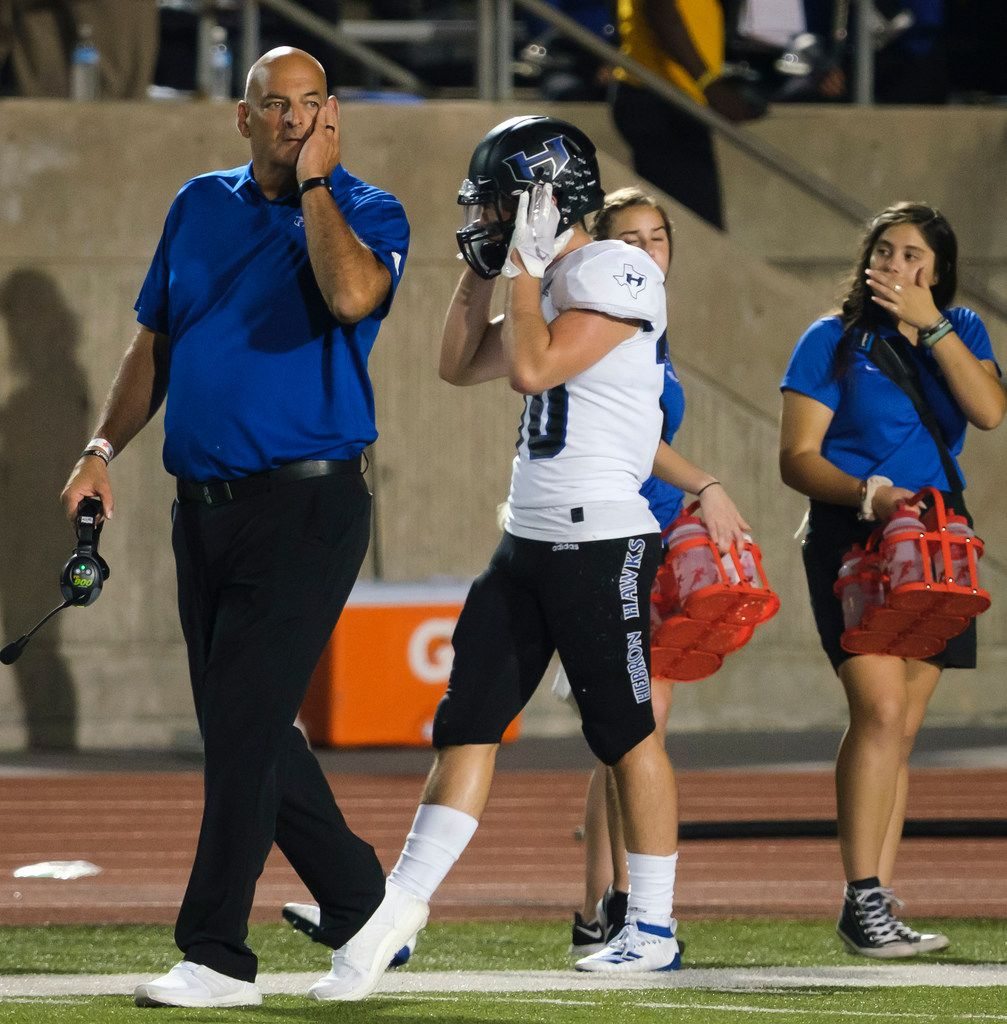 Hebron head coach Brian Brazil reacts after a Coppell touchdown during the second half of a high school football game on Friday, Oct. 4, 2019, in Coppell, Texas. (Smiley N. Pool/The Dallas Morning News)
