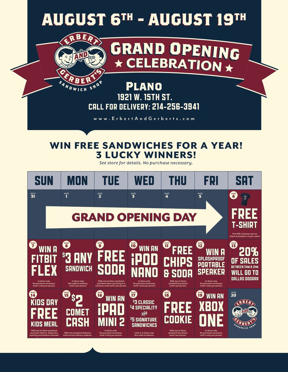 Erbert and Gerbert's in Plano will have two weeks worth of specials after opening August 6, 2016.
