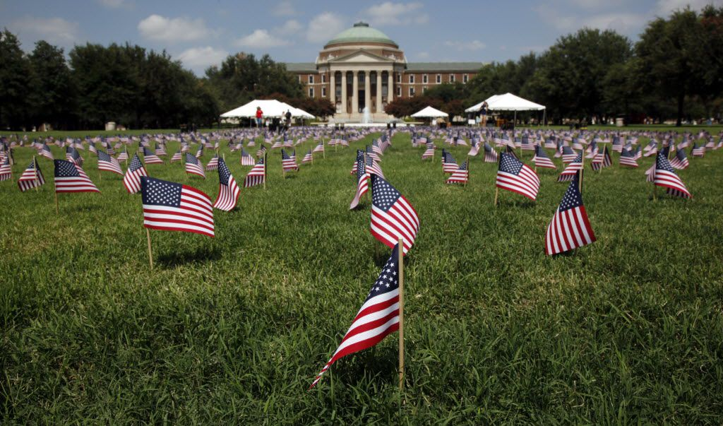 A display of 2,977 flags and 22 pairs of boots on September 10, 2010 on the SMU campus, each commemorating a 9-11 victim.