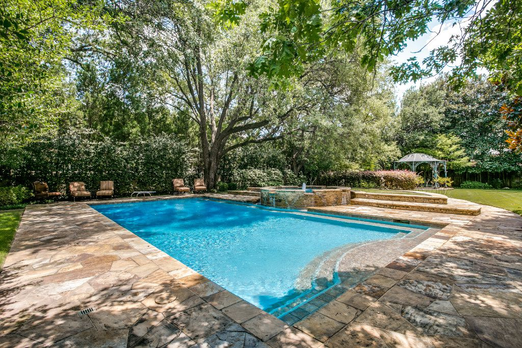 The swimming pool at the Highland Park mansion at 3905 Beverly Drive.