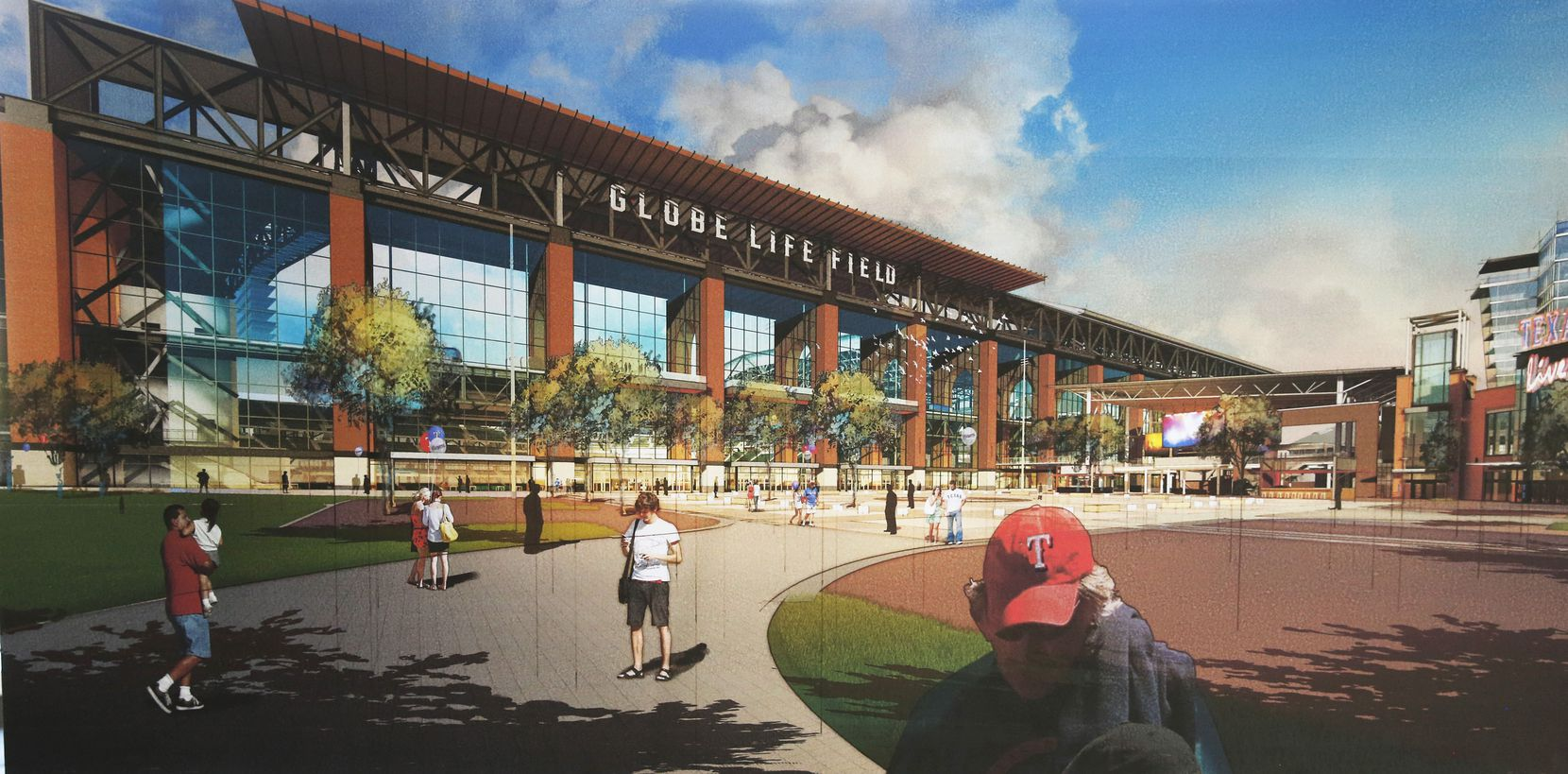 The north entrance to the Globe Life Field, alongside the Texas Live! entertainment complex