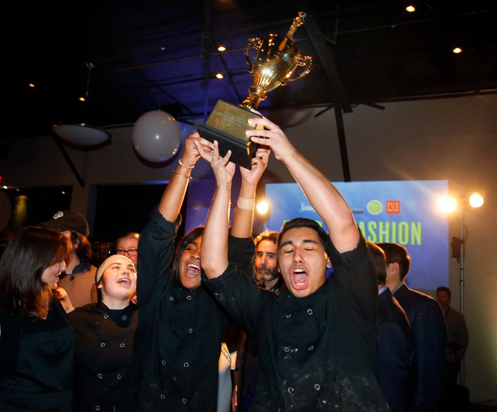 Molina High School culinary students (from right) Samuel Infante, Eryn Sherwood, Cynthia Alvarado and Board of Trustee Audrey Pinkerton celebrate with the winning trophy at the Food in Fashion event at 3015.