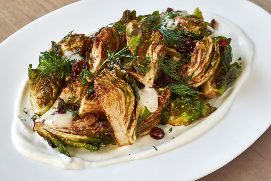 "Brussels sprouts afelia, a dish from ""Vegetables Unleashed"" by José Andrés"