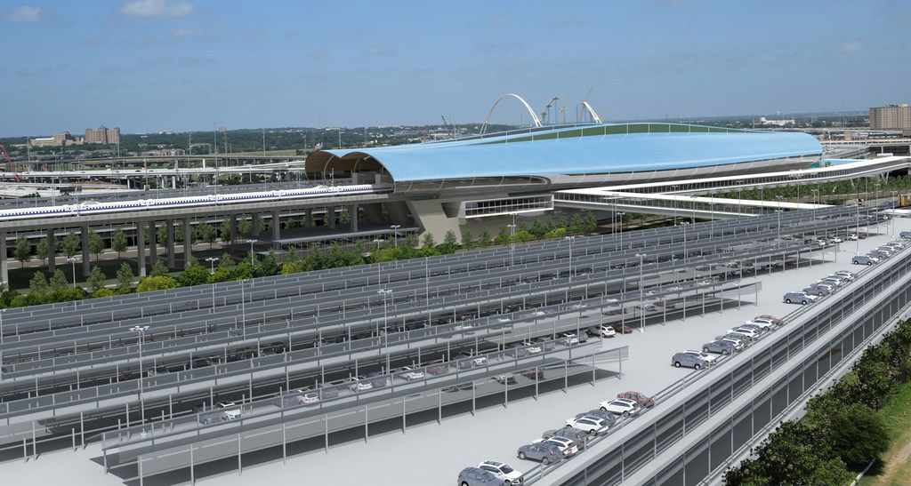 A conceptual digital rendering showing the North Texas passenger station for the Texas Bullet Train, proposed to be in the Cedars neighborhood of Dallas, just south of downtown, near the Interstate 30 and Interstate 35 interchange. The station would be located on a largely vacant 60-acre plot south of the Kay Bailey Hutchison Convention Center. Enclosed, elevated pedestrian bridges would then connect the station to new parking facilities, which may be extended to provide easy access to public transit, such as DART's nearby stations at the convention center and Union Station as well as an extension of the Trinity Railway Express commuter line from Union Station to the bullet train terminal.