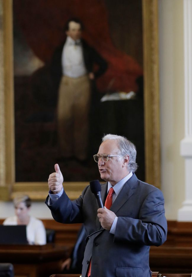 "State Sen. Kirk Watson, D-Austin, speaks during debate over a ""bathroom bill"" in the Senate Chamber, Tuesday, July 25, 2017, in Austin, Texas. The Texas Senate has revived a bill mandating transgender Texans use public restrooms corresponding to their birth-certificate genders. (AP Photo/Eric Gay)"