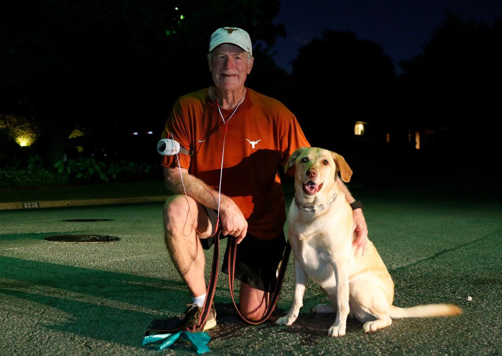 """Dr. Alan Johns, with his dog, Zoe, says: """"There is no better stress reducer than exercise."""""""