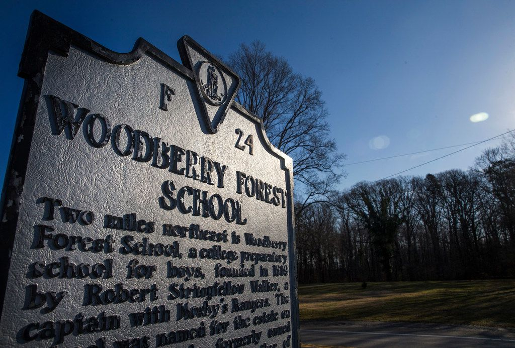 A historical marker stands at the entrance to Woodberry Forest School, an all-boys private boarding school founded in rural Virginia in 1889. Beto O'Rourke attended Woodberry from 1988 to 1991.