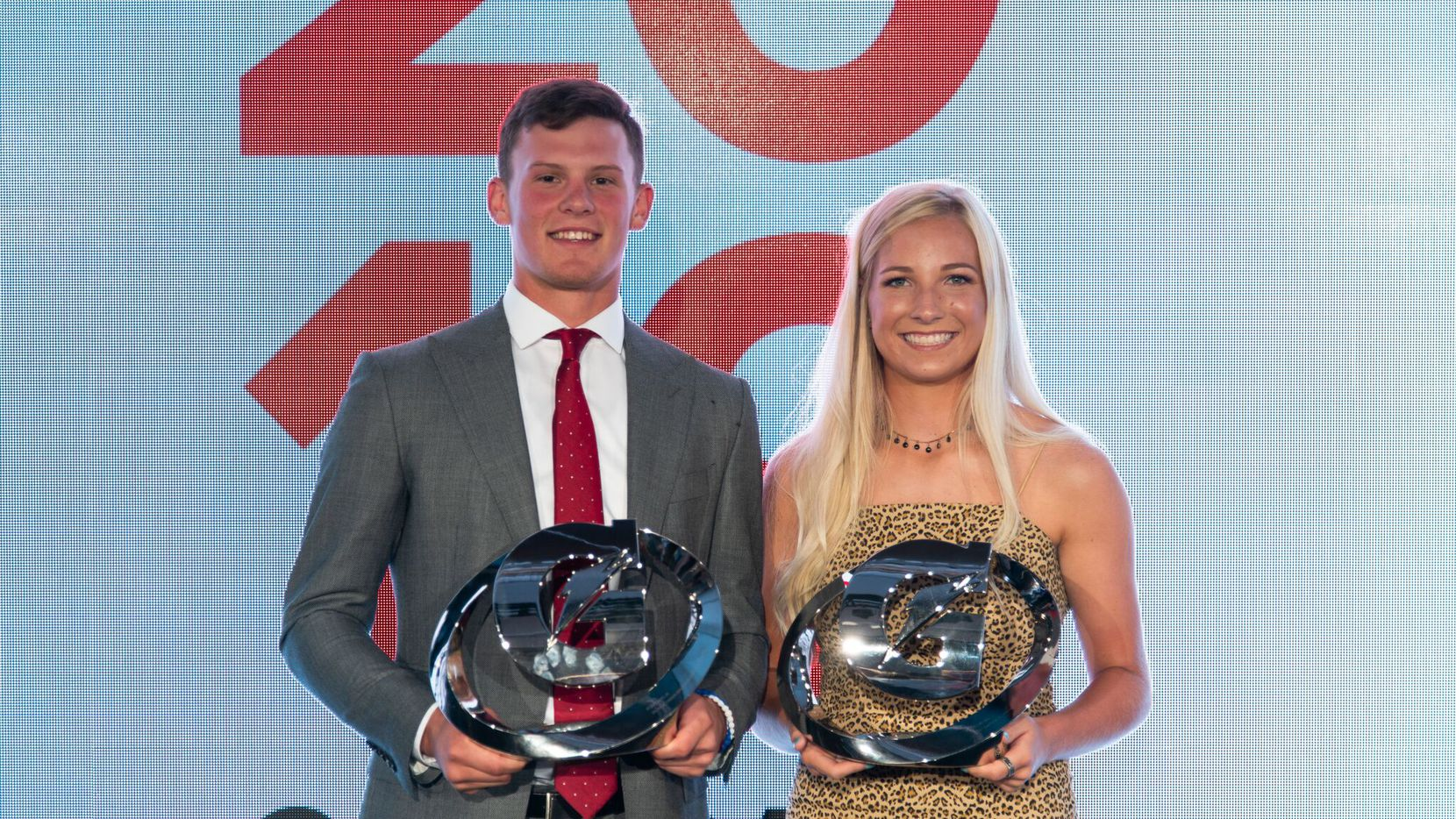 On Tuesday, July 9, 2019 in Los Angeles, California; 2019 Gatorade Female and Male Athlete of the Year award winners Kelley Lynch of East Coweta High School (Sharpsburg, Ga.) and Bobby Witt Jr. of Colleyville Heritage High School (Colleyville, Texas) pose with their trophies. Pictured from left to right: Bobby Witt Jr. and Kelley Lynch. Photo Credit/Gatorade